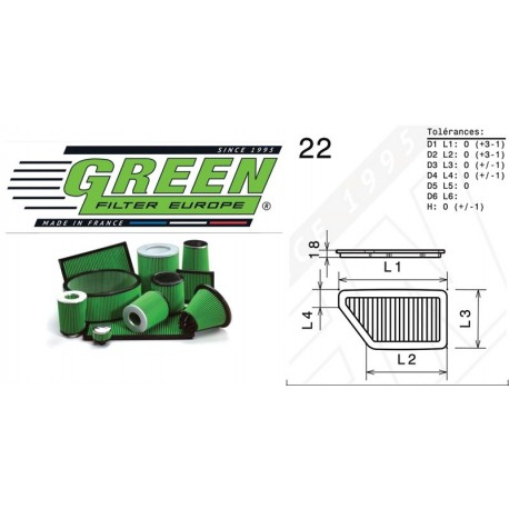 Filtre à air Green P960134 ACURA INTEGRA 1.8L L4 90-93