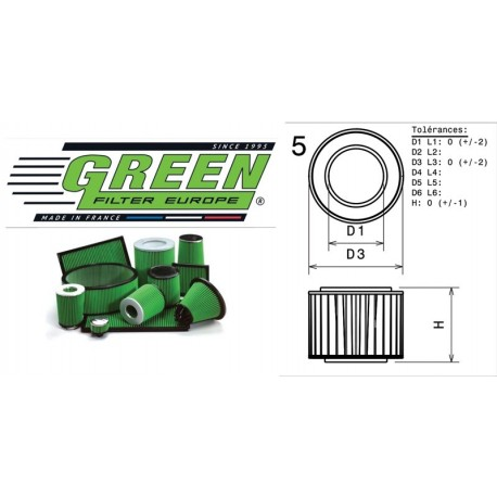 Filtre à air Green R457398 ALFA ROMEO GTV (916C) 2.0L i 16V Twin Spark 98-00